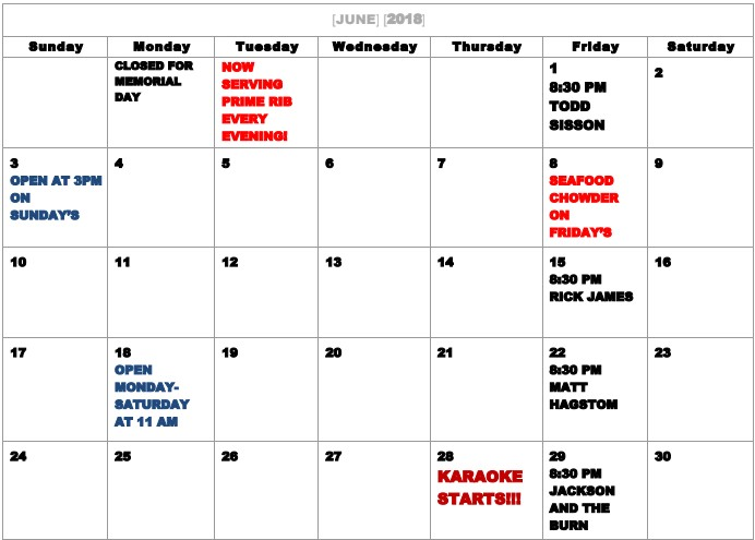 Interlachen Inn Calendar