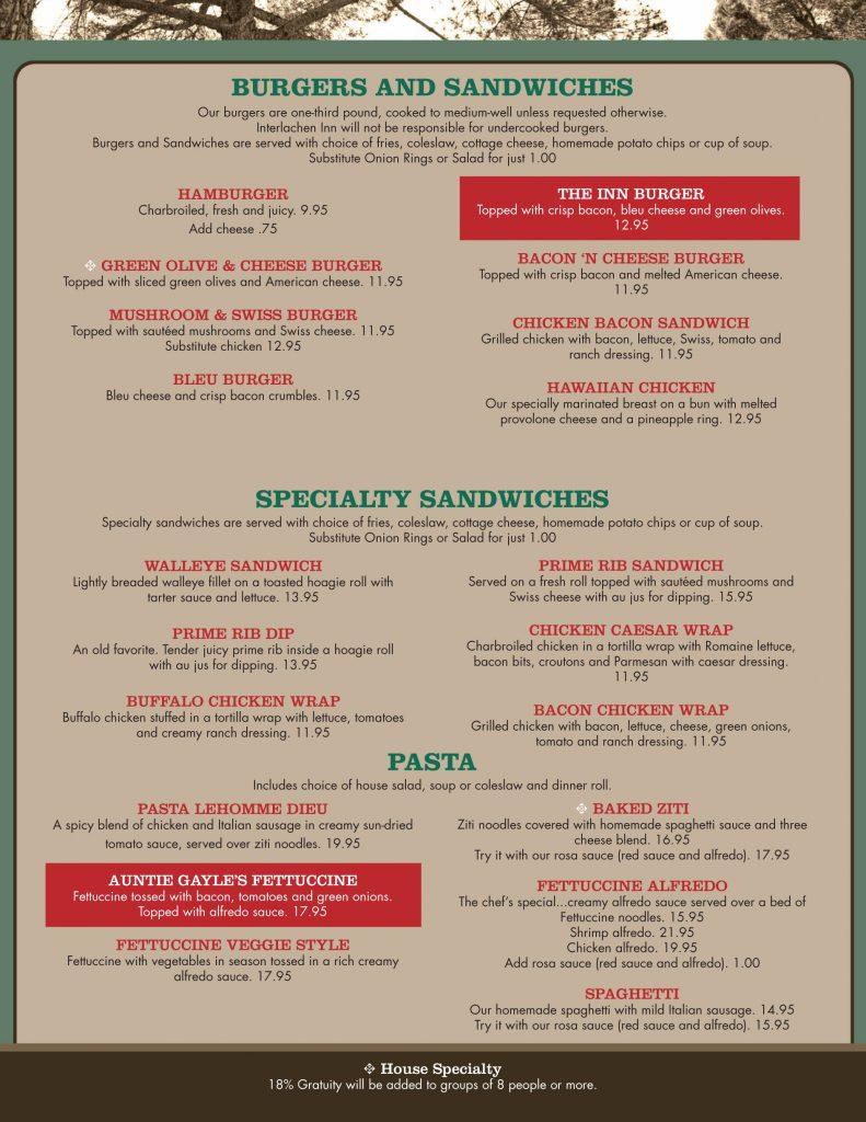lunch menu sandwiches