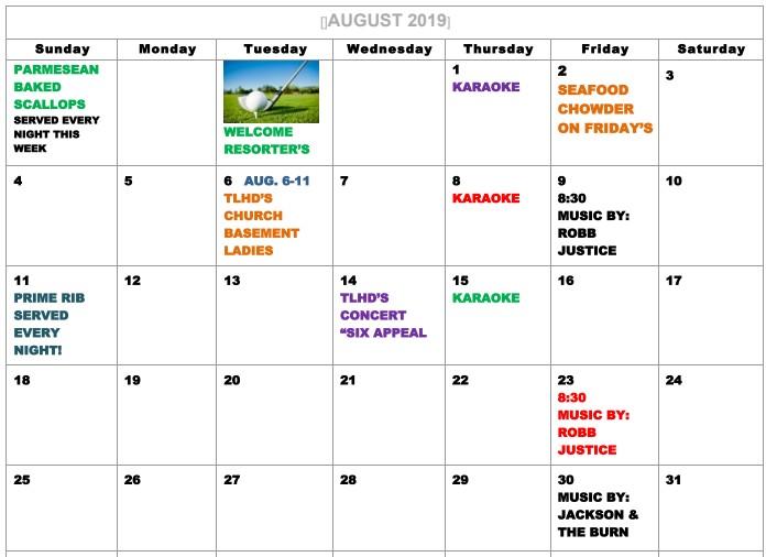 interlachen inn august 2019 calendar