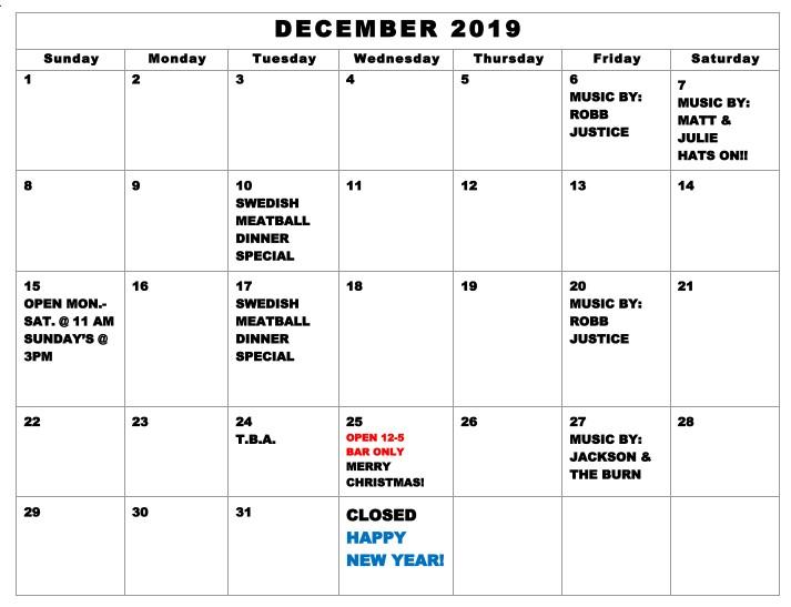 Interlachen Inn Dec 2019 calendar