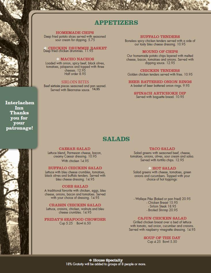 interlach inn menu 2020